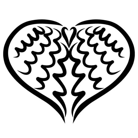 two wings creating a heart shape, black pattern
