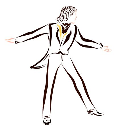 young man dancing in a classic brown suit