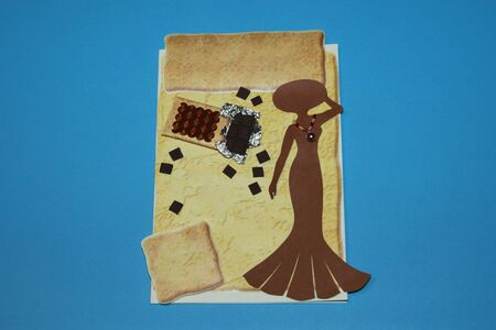 card with chocolate and a silhouette of a girl in a hat