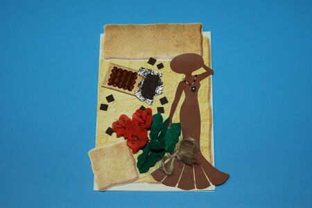 card with chocolate and fleece flowers for lady