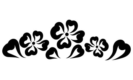 three flowers with foliage from hearts, black pattern Stockfoto