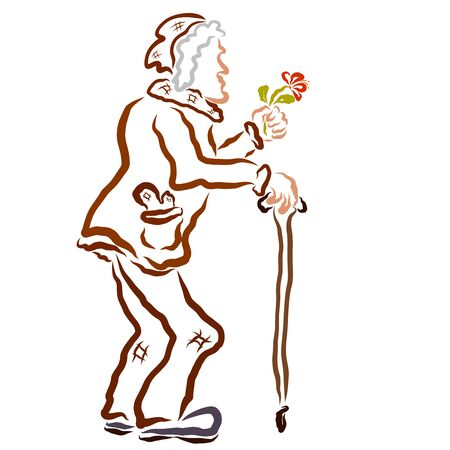 Old man with a cane gives a flower