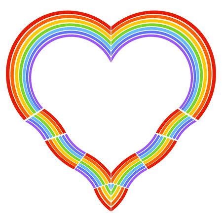 Heart shaped rainbow, colorful frame on a white background