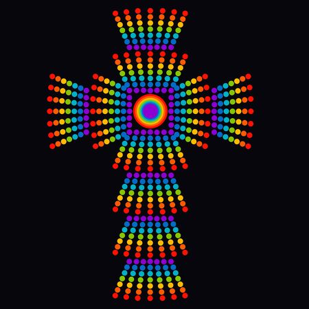 shining rainbow christian cross on a black background