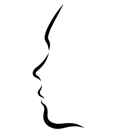 profile of a young woman, several black lines