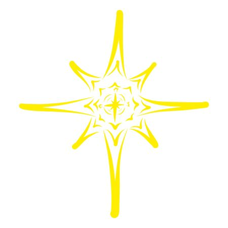 shining christmas star, yellow abstract pattern, symbol