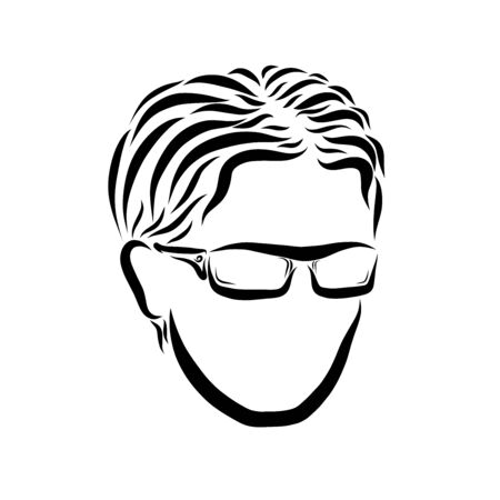 young man with glasses, black outline of the head