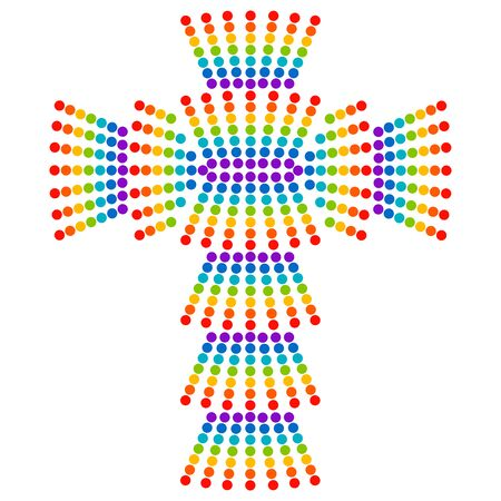 colorful christian cross made of dots by rainbow colors