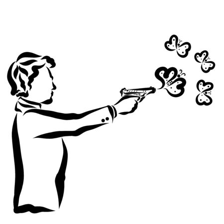 butterflies from hearts fly out of a pistol, a man shoots