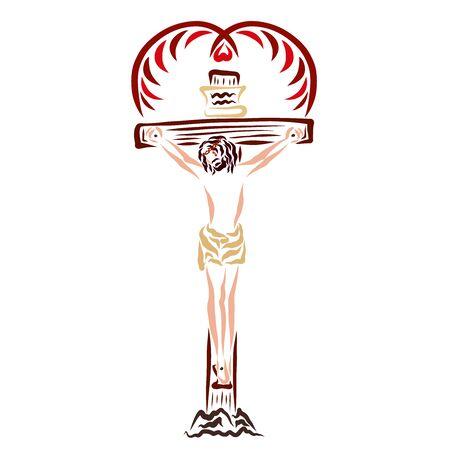 Jésus-Christ crucifié et l'oiseau qui fait le cœur Banque d'images