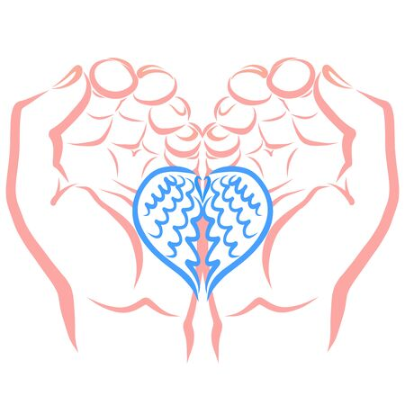 Two wings in the shape of a heart in the hands of a man
