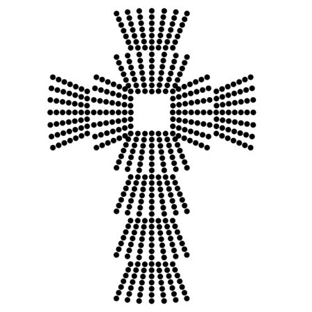 christian cross made of rays from black dots