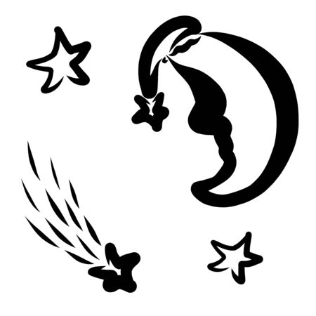 a crescent in a hat and a shooting star Фото со стока