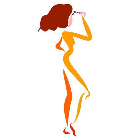 slender woman paints eyelashes, fashion and beauty