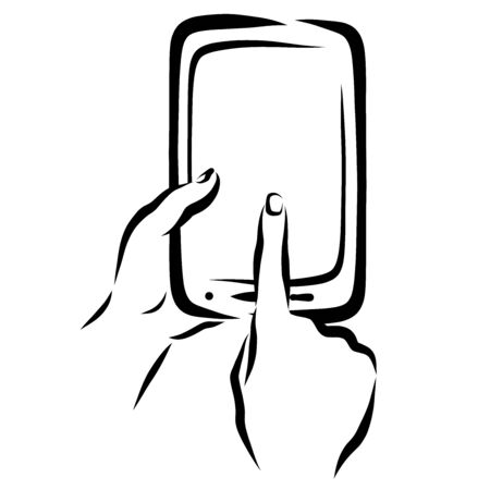 finger shows something on the smartphone screen Stock fotó