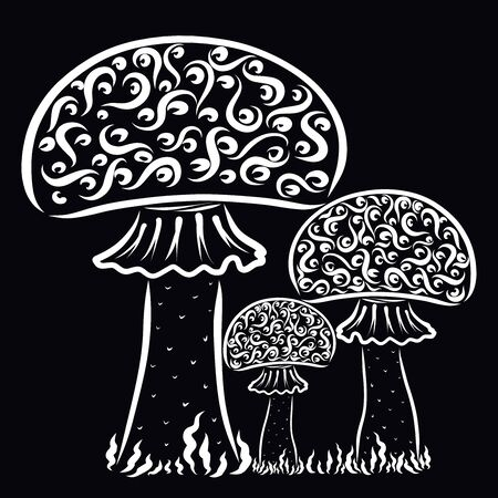 three patterned mushrooms, white pattern on a black background