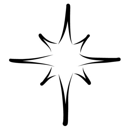 christmas star, black outline on a white background Stockfoto - 130695805