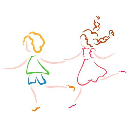 running together funny boy and girl, colorful outline