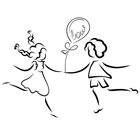 A boy gives a girl a balloon with the word Love