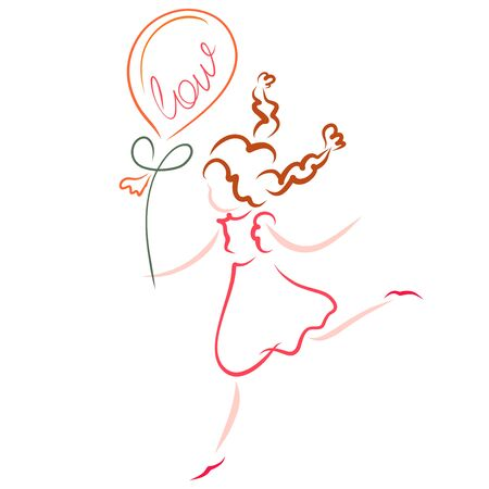 girl runs with a balloon in her hand, the word love