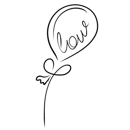 balloon with thread and with the inscription Love