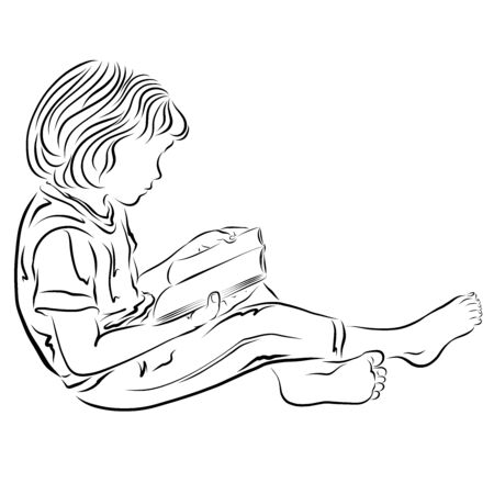 A sitting barefoot child reads a book enthusiastically