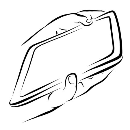 Tablet with a blank screen in the hands of a child Stock Photo