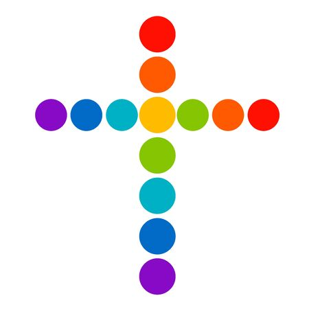 cross from the circles of the seven colors of the rainbow Stock Photo