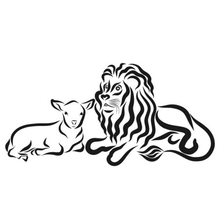 Strong lion and young lamb together, black outline Фото со стока
