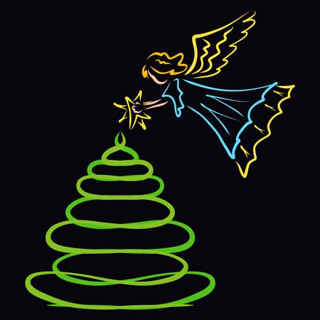 Angel decorates the top of the Christmas tree with a star Stock Photo