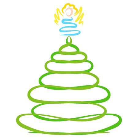 Xmas tree with angel on top, abstract pattern