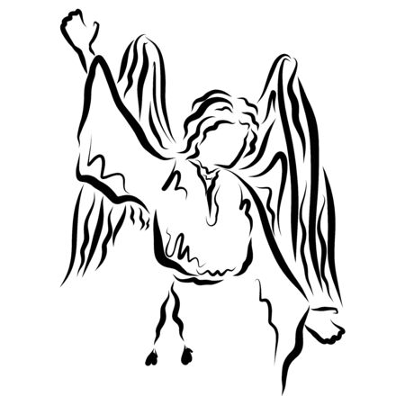 Winged angel pointing hand up, black outline