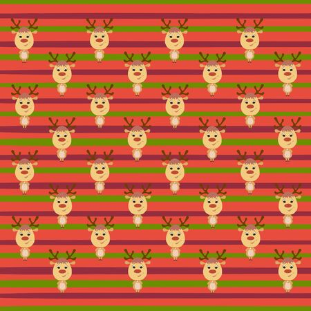 Striped colorful background with funny and cute deers Фото со стока
