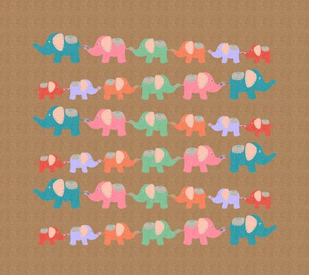 cheerful brown background with colorful elephants walking together