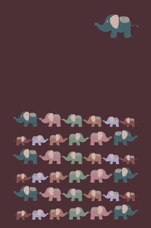 dark background with cute elephants with a place for writing