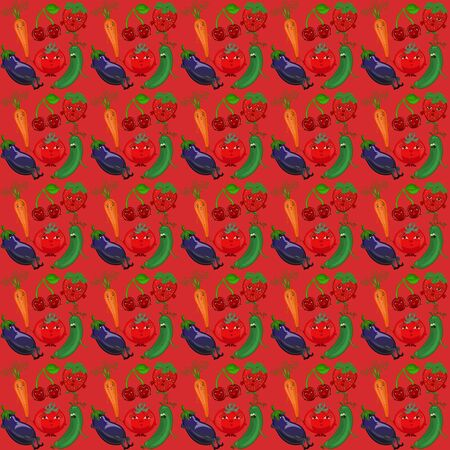 Red background with funny vegetables and berries