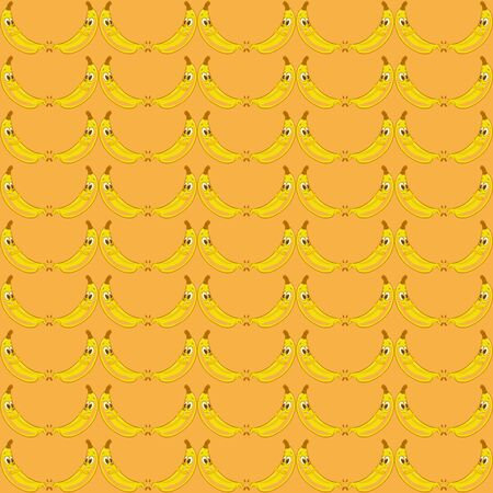 Orange background with very funny bananas, with faces Stok Fotoğraf