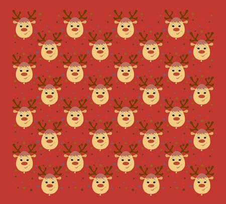 red background with many smiling deer, heads