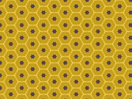 yellow background with a pattern of stars of red and blue