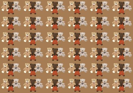 Background with three cute teddy bears, vintage and new Stockfoto