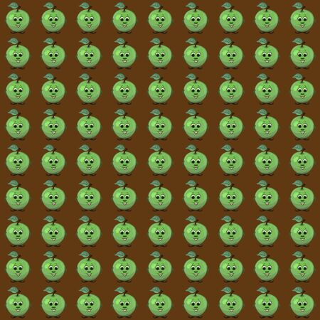 Brown background with funny smiling green apples Stok Fotoğraf