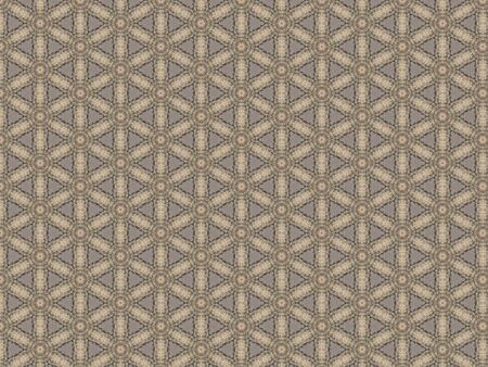 decorative festive wedding tablecloth with dense geometric weaving openwork pattern in gray and white Stock Photo