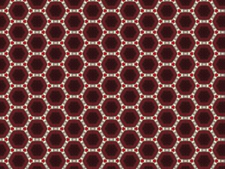 burgundy leather background with a red hexagon star and a hexagon shape