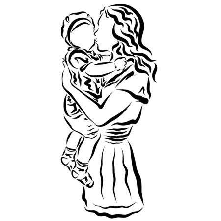 Young mother kisses her baby, black outline