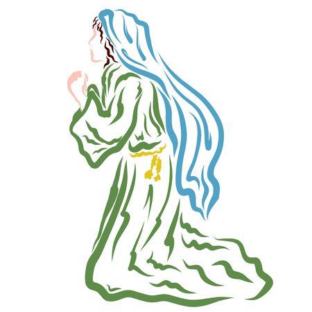 Biblical woman praying kneeling, Virgin Mary praying to God