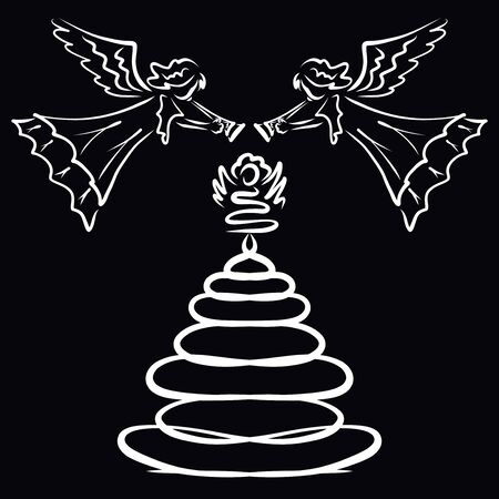 Two angels blow trumpet over xmas tree