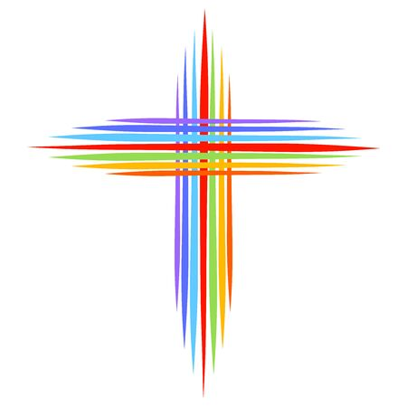christian cross from pointed lines, rainbow colors Stok Fotoğraf