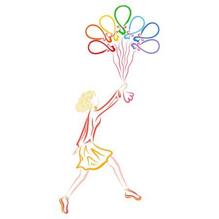 girl with seven balloons, rainbow colors, wonderful flight