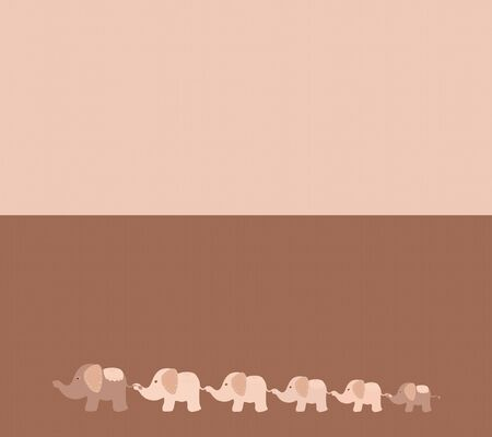 Two part background with cute elephants walking together