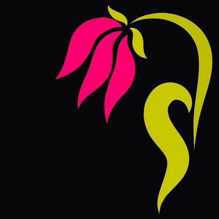 pink flower with half heart leaf, black background